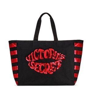 NWT Victoria's Secret red and black sequin tote